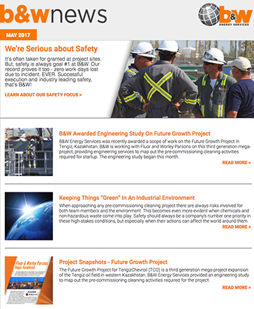 B&W Energy Services - May 2017 Customer Newsletter